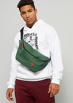 Green Double Zip Foldover Fanny Pack