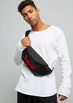 Black Super Fuzzy Chenille Fanny Pack