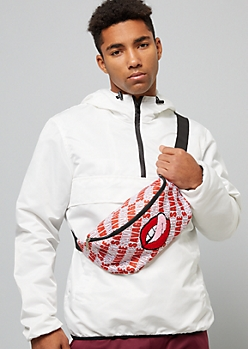 Red Savage Fuzzy Chenille Mouth Fanny Pack