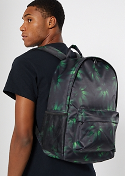 Black Weed Print Backpack
