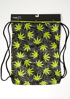 Olive Tie Dye Weed Print Cinch Bag