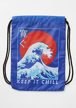 Blue Kanji Wave Cinch Bag