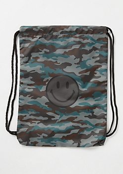 Camo Print Smiley Cinch Bag