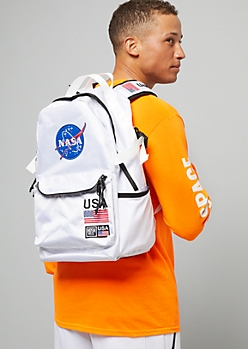White NASA Patch Backpack