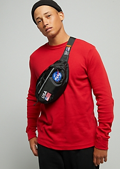 Black NASA Patch Waist Bag