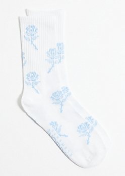 White Rose Print Crew Socks