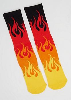 Red Flame Crew Socks
