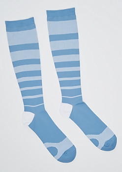 Blue Striped Compression Socks