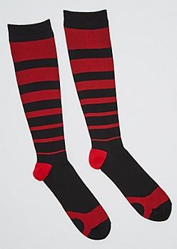 Red Striped Compression Socks