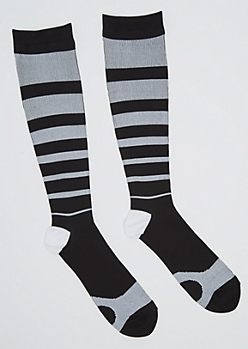 Black Striped Compression Socks
