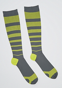 Yellow Striped Compression Socks