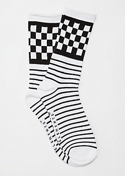 Black Checkered & Striped Crew Socks