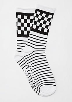 Black Checkered & Striped Crew Socks