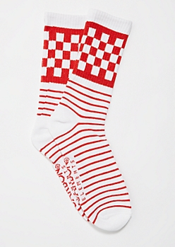 Red Checkered & Striped Crew Socks