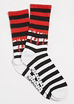 Red Striped Pattern Paint Drip Crew Socks
