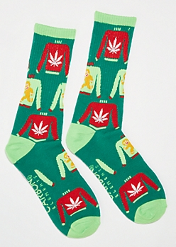 Green Weed Leaf Sweater Crew Socks