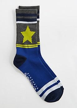 Striped Yellow Star Crew Socks