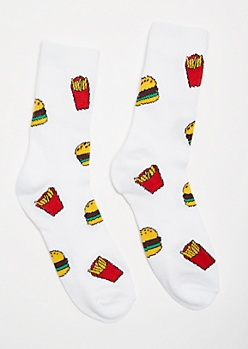 White Burgers Fries Crew Socks