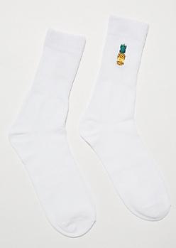 White Split Pineapple Patch Crew Socks