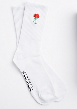 White Embroidered Rose Crew Socks