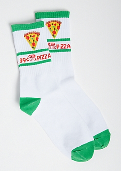 White NYC Pizza Crew Socks