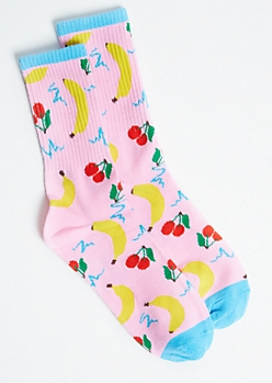 Pink Cherry Banana Crew Socks