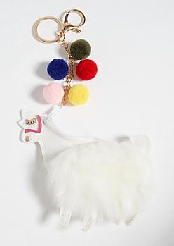 Fuzzy Llama Coin Purse Handbag Charm