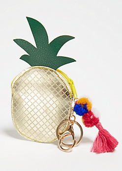 Metallic Pineapple Coin Purse Handbag Charm