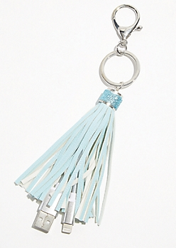 Light Blue Tassel Keychain USB Charging Cable