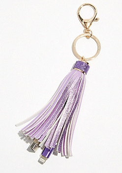Purple Tassel Keychain USB Charging Cable