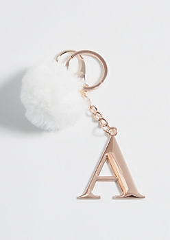 Rose Gold A Pom Keychain