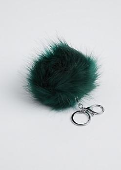 Dark Green Fluffy Pom Handbag Charm