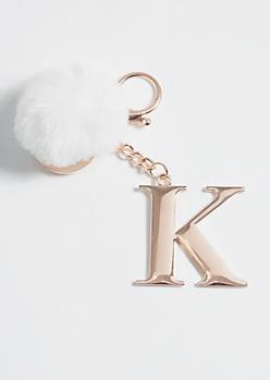 Rose Gold K Pom Keychain