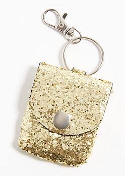 Glittery Gold Cord Keeper Handbag Charm
