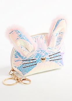 Iridescent Bunny Coin Pouch Handbag Charm