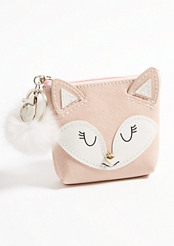 Fox Pom Coin Pouch Handbag Charm