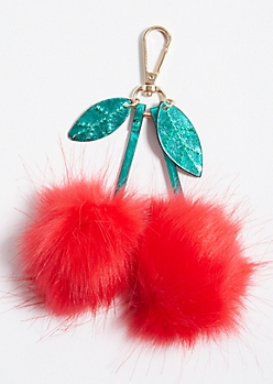 Cherry Faux Fur Pom Handbag Charm