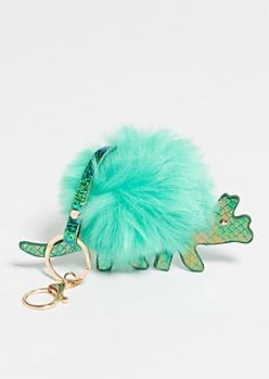 Green Pom Triceratops Handbag Charm