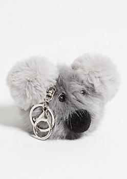 Gray Pom Koala Handbag Charm