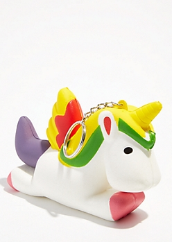Leaping Unicorn Squishie Keychain