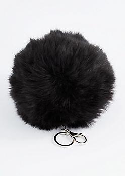 Black Oversized Pom Handbag Charm