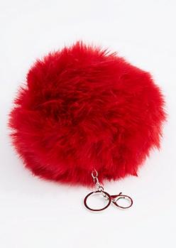 Burgundy Oversized Pom Handbag Charm