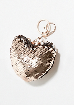 Rose Gold Sequins Plush Heart Handbag Charm