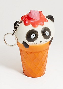 Panda Ice Cream Squishy Stress Ball Keychain