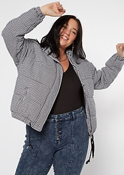 Plus Black Houndstooth Puffer Jacket