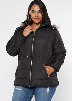 Plus Black Faux Fur Hood Puffer Jacket