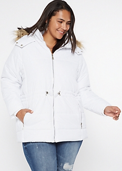 Plus White Faux Fur Hood Puffer Jacket