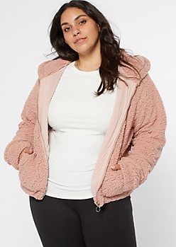 Plus Pink Zip Up Sherpa Hoodie