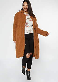 Plus Camel Sherpa Teddy Coat