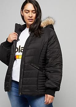 Plus Black Hooded Sherpa Puffer Jacket